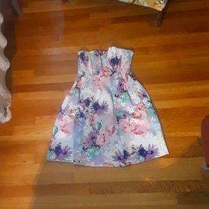 Floral Scuba Strapless Dress